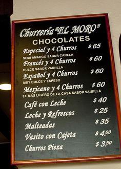 Churreria El Moro menu | Flickr - Photo Sharing!