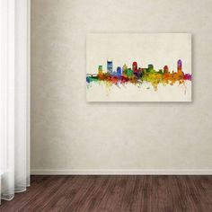 """Trademark Art """"Nashville Watercolor Skyline"""" by Michael Tompsett Graphic Art on Wrapped Canvas Size:"""