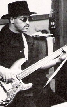 "James Jamerson playing his ""Funk Machine"" Fender Precision bass guitar in a recording studio in Los Angeles after Motown moved from Detroit to LA."