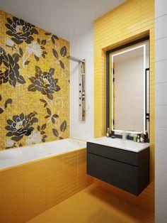 Желтая ванная комната: сочетание цветов, советы дизайнеров