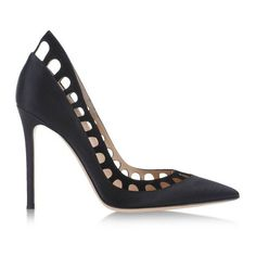 Gianvito Rossi Silk-Satin & Suede Cutout Pump ($498) ❤ liked on Polyvore