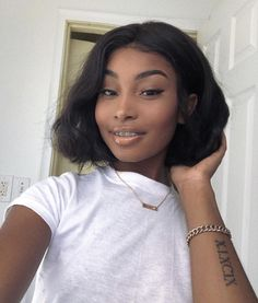 for more popping pins add Black Hairstyles With Weave, Black Girls Hairstyles, Cute Hairstyles, Natural Hair Styles, Short Hair Styles, Haircut For Thick Hair, Girl Short Hair, How To Pose, Casual Look
