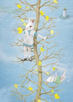 By Hsiao Ron Cheng - rabbit head children in tree.  Cheng's work is done with photoshop, so lovely.  via Flickr