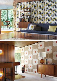 Mid-Century Modern interiors with more recent wall / wall paper design - colorful and graphic - by Orla Kiely. Bare windows for that close-to-nature vibe. Mid-century Interior, Interior And Exterior, Interior Design, Casa Retro, Retro Home, Mid-century Modern, Estilo Retro, The Design Files, Retro Furniture