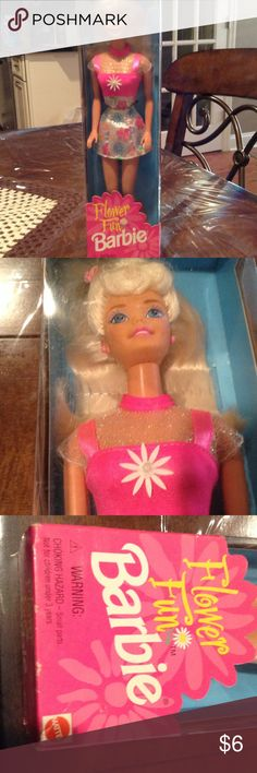 """Barbie doll 12"""" tall NIB Flower fun Barbie...long blonde hair and a flower dress. All little girls love the Barbie dolls. Must be 3 years old and up. Mattel Accessories"""
