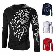 2948e20b5 Brand 2018 Mens Autumn T Shirt Dragons Printing Casual Male Long Sleeve  Shirt Funny Quick Dry Men Slim Fitness Tops High Quality