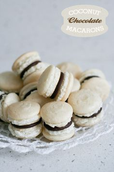 Nut Free Macarons – Coconut and Chocolate    http://www.topwithcinnamon.com/2012/05/nut-free-macarons-coconut-and-chocolate.html