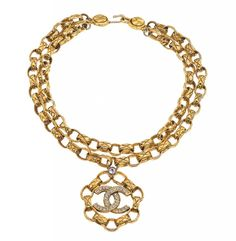 Image detail for -VINTAGE CHANEL MASSIVE DOUBLE CHAIN NECKLACE WITH RHINESTONES