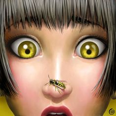 Wasp my little nightmare Digital Art by Cintia Gonzálvez. Cintia is a self-taught freelance artist from Barcelona. Shehe tries to create spontaneous Pinup, Bee Art, Pop Surrealism, Bees Knees, Illustrations, Queen Bees, Mellow Yellow, Digital Illustration, Woman Illustration