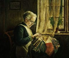 Charles Spencelayh (British, 1865-1958) ~ The Lacemaker ~ 1920 ~ Charles Spencelayh was an English genre painter and portraitist in the Academic style. Described the artist as Mrs.Newell making lace.