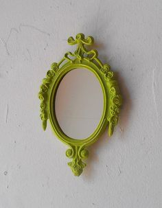 Small Mirror in Vintage Spring Green Frame  by SecretWindowMirrors