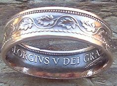 1919 Canadian Large Cent Copper Coin Ring in a size 8 Coin Jewelry, Beaded Jewelry, Silver Jewelry, Copper Coin, How To Make Rings, Birth Year, Coin Ring, Diy Rings, Silver Coins