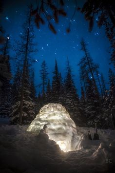 snow igloo glowing under the stars!