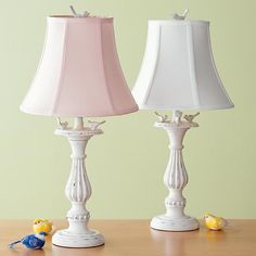 The Land of Nod   Kids' Lighting: Kids Pink & White Pastel Antiqued Bird Cast Lamp in Table Lamps