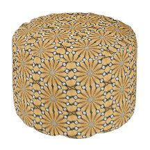 Floral Taupe Round Pouf