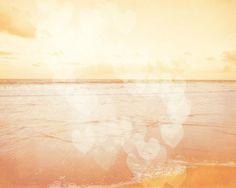 Beach Dreamy Pastel Art Print  Peach Orange by SevenElevenStudios