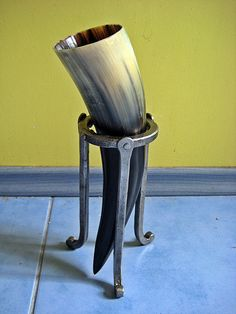 Christmas gift Vegvisir Viking Drinking horn with blacksmith forged iron stand