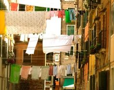 hanging laundry in the courtyard