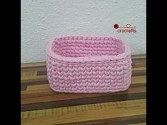 Crochet rectangle basket with t-shirt yarn – crocrafts Crochet Basket Tutorial, Crochet Basket Pattern, Crochet Patterns, Crochet Crafts, Crochet Yarn, Crochet Projects, Learn Crochet, Bobble Stitch Crochet, Hemp Yarn