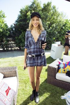 Plaid minidress - Coachella Street Style 2016: The Best Festival Fashion  - Coachella Street Style-Wmag