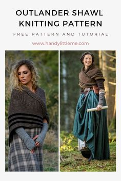 Outlander Shawl Knitting Pattern. Make a simple knitted shawl inspired by Claire Fraser with this beginner-friendly knitting pattern. Sizing is versatile, as you can easily make this shawl as small or as large as you want! This crossover shawl worn with a belt was inspired by Claire's Carolina shawl worn in season four of the Outlander series. #knitting #knittingpatterns #outlander #shawl #shawlpattern #clairefraser Outlander Knitting Patterns, Free Knitting Patterns For Women, Beginner Knitting Patterns, Knit Patterns, Knitting Abbreviations, Yarn Inspiration, Claire Fraser, Art Yarn, Outlander Series