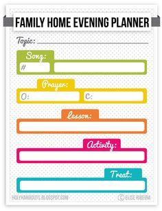 Holy Handouts: Family Home Evening Agenda