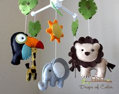 Baby Crib Mobile Baby Mobile Nursery Jungle by dropsofcolorshop, $85.00