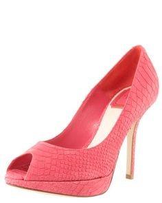 Miss Dior Python-Embossed Pump, Coral by Christian Dior at Bergdorf Goodman.