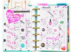 documenting self-care on a mini Happy Planner® monthly spread by mambi Design Team member Nicole Patterson | me & my BIG ideas
