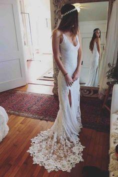 White chiffon prom dress, ball gowns wedding dress