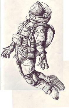 Kunst Bilder ideen - meaningful tattoos, flying astronaut, black and white drawing, white background - Beste Art Pins Sketch Tattoo Design, Tattoo Sketches, Tattoo Drawings, Drawing Sketches, Art Drawings, Astronaut Tattoo, Astronaut Drawing, Totem Tattoo, Tattoo Motive