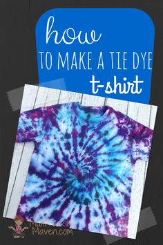 Just in time for summer fun and camp! How to make a tie dye t-shirt is a really fun and easy project for the family. Every time we unwrapped a t-shirt was like a new painting. Step by step tutorial. Tie Die Shirts, Diy Tie Dye Shirts, Dye T Shirt, Diy Shirt, Make A Tie, How To Tie Dye, How To Make, Baseball T Shirts, Crafts To Do