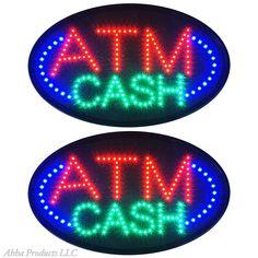 """2 Large 24x13"""" Bright ATM Cash Money Debit Machine LED Open Bar Store Sign neon…"""