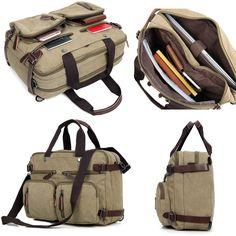 Clean Vintage Hybrid Briefcase Backpack Laptop Messenger Bag- Khaki