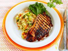 Colamaustetut broilerinleikkeet Grill Pan, Grilling Recipes, Summer Recipes, Risotto, Nom Nom, Pork, Beef, Chicken, Dinner