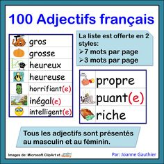 100 adjectives for beginning French students French Adjectives, French Sentences, Teacher Resources, Teacher Pay Teachers, Illustrated Words, French Songs, French Resources, French Immersion, Teaching French