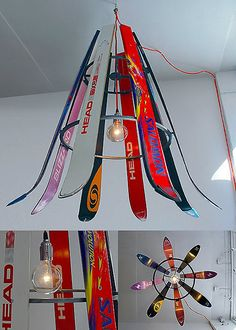 Here's another design that uses recycling, the 'Ski-Chandelier' by Willem Heeffer. Actually it's upcycling. Upcycling is the process of converting waste materia Ski Lodge Decor, Ski Shop, Ski Chalet, Recycling, Vintage Ski, Snow Skiing, Recycled Furniture, Eco Furniture, Chalets