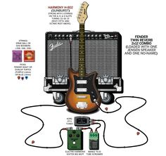 A detailed gear diagram of Dave Dederer's The Presidents of the United States of America stage setup that traces the signal flow of the equipment in his 1993-1995 guitar rig.