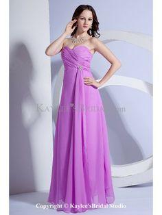 Chiffon Sweetheart Floor Length Column Bridesmaid Dress with Ruffle