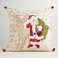 Embroidered Jolly Santa Throw Pillow