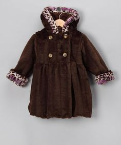 Take a look at this Brown & Purple Leopard Mary-Jayne Coat - Toddler & Girls by Corky & Company on #zulily today!#fall