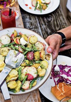 French Potato Salad Recipe (This French potato salad is not your mom's potato salad recipe. And we couldn't be more okay with that. The recipe relies on olive oil and egg yolk, rather than mayo or sour cream, for its enviably creamy consistency.)