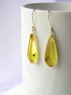 Mexican amber faceted drop earrings