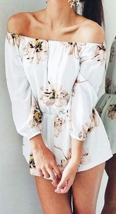 #Summer #Outfits for Spring Break / White Off The Shoulder Floral Print Playsuit