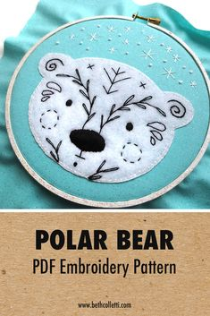 Vintage Embroidery Patterns Winter embroidery pattern of polar bear - uses appliqué - Diy Embroidery Patterns, Hand Embroidery Projects, Embroidery Materials, Embroidery Sampler, Embroidery Transfers, Vintage Embroidery, Embroidery Techniques, Embroidery Stitches, Simple Embroidery
