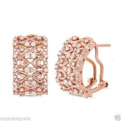 Lacey Solid 14K #RoseGold & glittering #Diamonds in a gorgeous pair of Huggie Earrings: http://sagedesignsla.com/earrings/1-02-ct-14k-rose-gold-omega-back-huggie-round-cut-diamond-lace-earring-f-si1.html