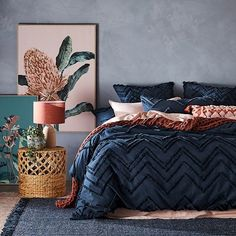 Home Republic - Orlando Chenille Quilt Cover Blue And Pink Bedroom, Navy Blue Bedding, Navy Blue Bedrooms, Blue Bedspread, Blue Bedroom Decor, Bedroom Orange, Pink Bedding, Home Bedroom, Navy Quilt