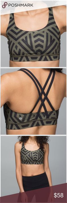 Lululemon Athletica Energy Bra 6 Green Chevron Lululemon Athletica Energy Bra. Size 6. Chevron Shuffle Fatigue Green / Black. Excellent condition. Worn once or twice. No flaws. Comes with removable pads. Strappy racerback style. Medium support and coverage. Great for running, dance, yoga, training & more!  Luxtreme® fabric is cool to the touch and fits like a second skin. This technical fabric offers smooth, low-friction performance. The breathable, 4-way stretch fabric is sweat-wicking…
