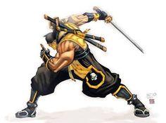 Scorpion from Mortal Kombat on a slashing motion with his sword Escorpion Mortal Kombat, Mortal Kombat Scorpion, Arte Ninja, Ninja Art, Tekken 7, Guerrero Ninja, Mortal Kombat X Wallpapers, Claude Van Damme, Les Reptiles