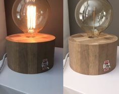 Old around oak base with edison lamp y YGWoodworking on Etsy